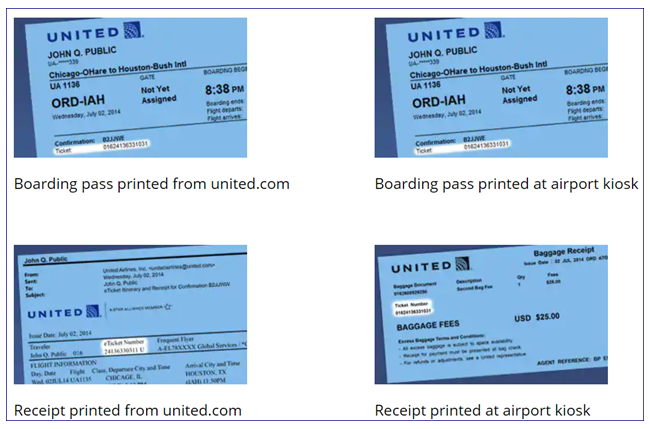United Airlines Check in boarding pass sample