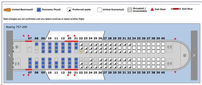 United Airlines check in - Choose seat