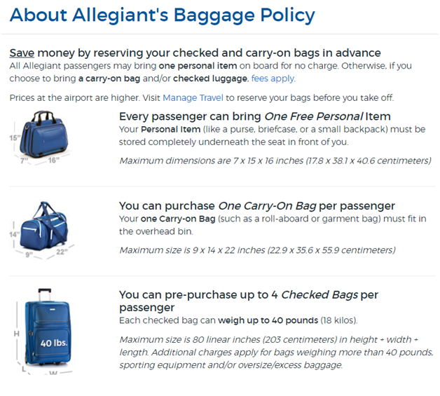 Allegiant Airlines Baggage Policy