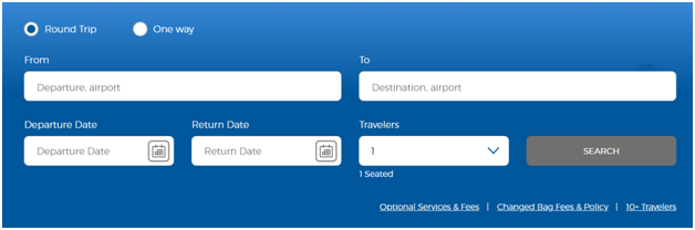 Allegiant airlines online booking search box